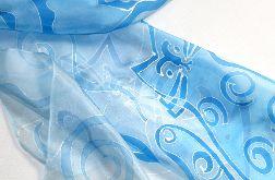Koty w błękitach, jedwabna chusta malowana