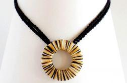 Geometryczny naszyjnik szydełkowy - czarny żółty i biały