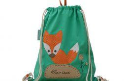 plecak worek lisek z imieniem do przedszkola