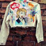 kurtka jeans krotka recznie malowana komiks - recznie malowana
