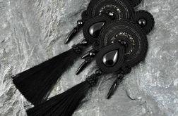 Wieczorowe czarne kolczyki sutasz z chwostami