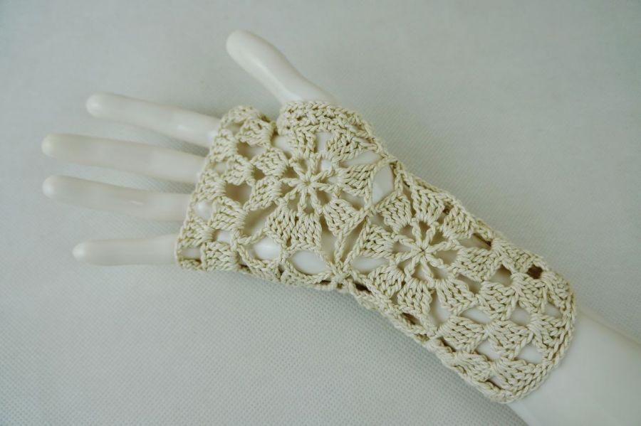 Rękawiczki, mitenki beżowe - Mitenki rękodzieło