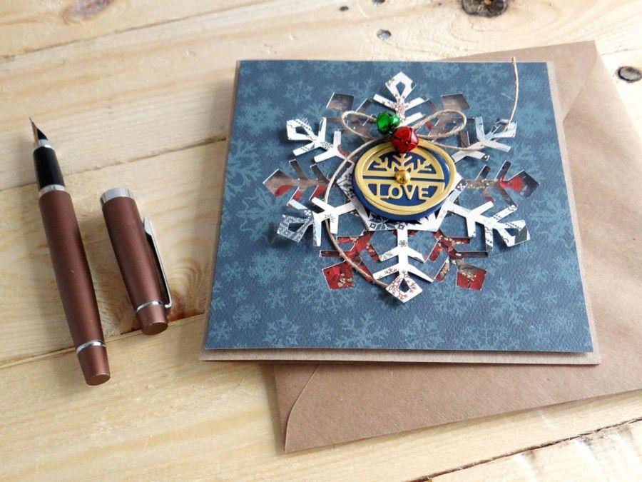 Kartka świąteczna ŚNIEŻYNKA SHAKER - Detal2