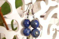 Kolczyki handmade niebiesko-grafitowe z dwoma kuleczkami