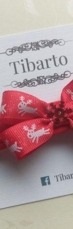 Świąteczna opaska z kokardką w reniferki