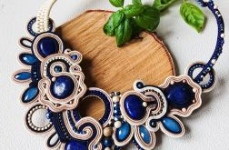 Beżowo-granatowy naszyjnik z lapisami lazuli