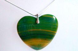 Zielone serce z agatu, wisiorek w srebrze