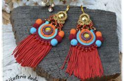 Kolczyki sutasz Frida II boho Etno czerwone