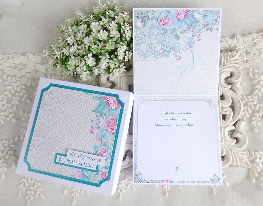 Ślubna kartka w pudełku 357 -