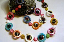 Bardzo kolorowa masa perłowa, zestaw biżuterii