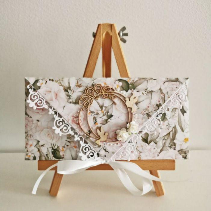 Kartka ślubna kopertówka róże - całość