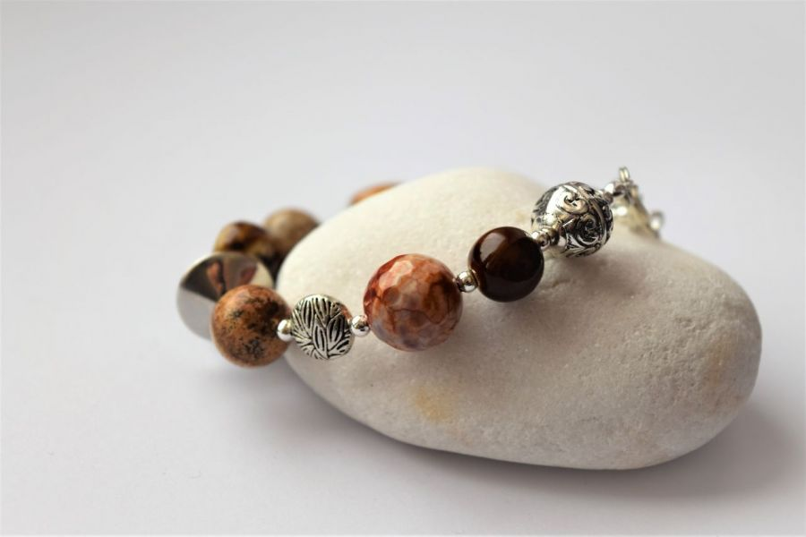 Bransoletka-mix kamieni w odcieniach brązu