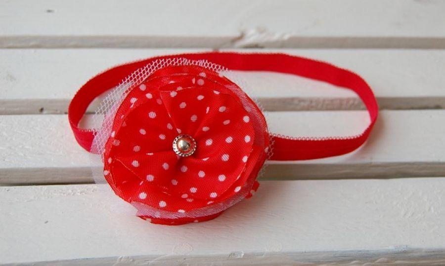 Opaska niemowlęca - Biedroneczka - czerwona opaska niemowlęca