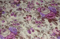 Tkanina bawełna-wzór fioletowe róże