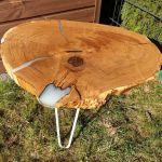 Stolik plaster drewna dąb biała żywica