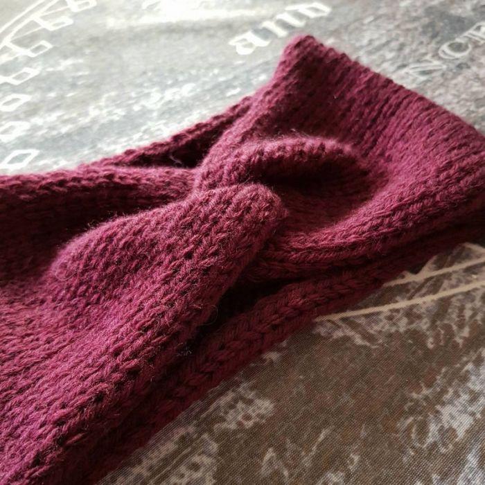 Zimowa opaska retro, burgund