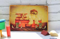 Drewniany wieszak, motyw retro