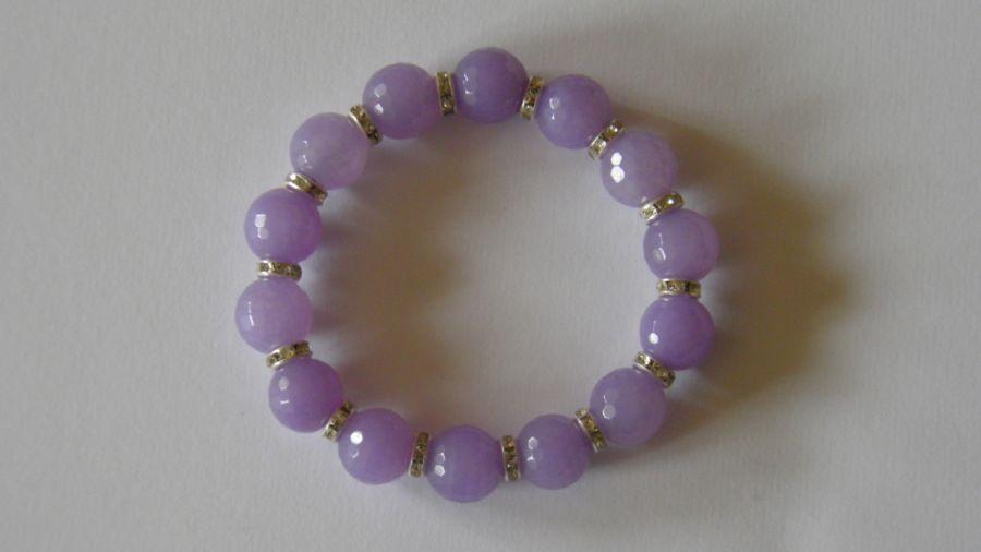 """Bransoletka z naturalnego jadeitu """"Lila"""" - Bransoletka w pięknym liliowym kolorze"""