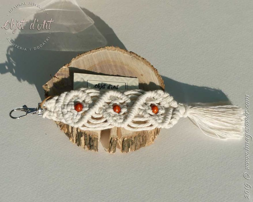 Brelok Bawełna Naturalna Makrama z Drewnem 1