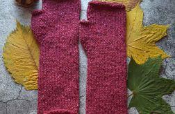 Mitenki wełniane Tweed wiśniowe