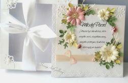 Kartka ślubna z Kwiatami i koronkami