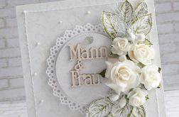 Kartka ślubna w bieli Mann&Frau