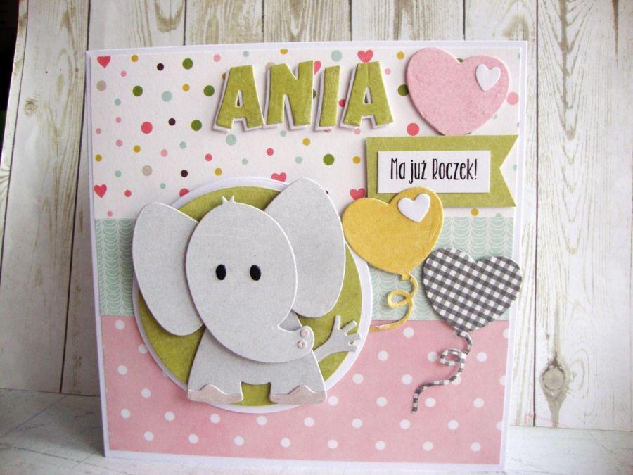 Kartka na Roczek ze słonikiem dla dziewczynki