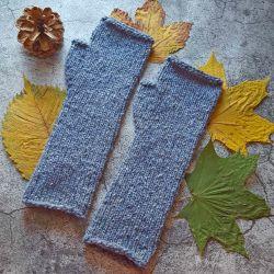 Mitenki wełniane tweed dżins