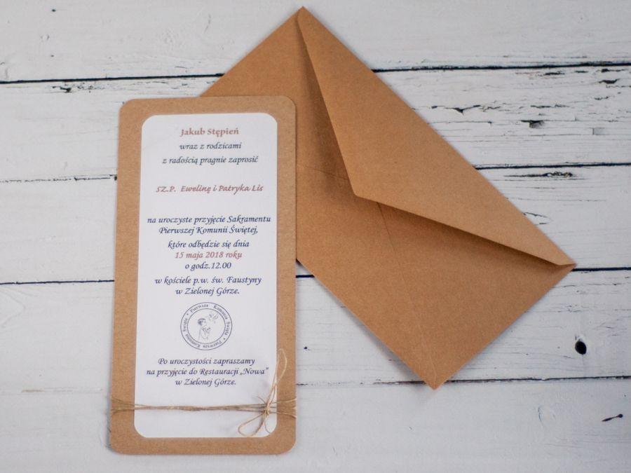 Zaproszenia na Komunię eko craft - Zaproszenia rustykalne komunijne