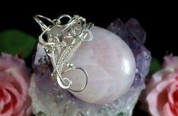 Srebrny wisior z kwarcem różowym handmade