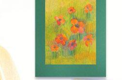 Rysunek kwiaty na zielonym tle nr 13 szkic