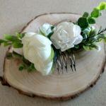 grzebień do włosów stroik biały - grzebień z kwiatami