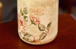 Pojemnik szklany z motywem kwiatowym retro