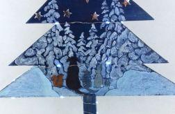 Drewniana choinka malowana ze zwierzętami