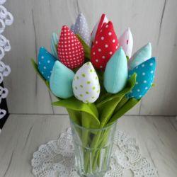 Tulipany materiałowe, z bawełny, Dzień Matki