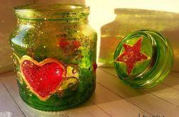 świecznik szklany malowany serce 2