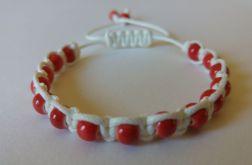 Bransoletka regulowana (biało-czerwona)