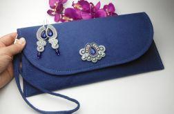 Komplet biżuterii torebka kopertówka zamsz