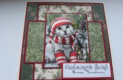 Kartka Boże Narodzenie z kotkiem
