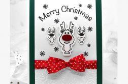Kartka świąteczna zielona z reniferem BNR 014