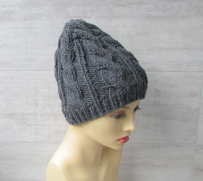 Zimowa czapka w warkocze w kolorze stalowym. - czapka warkocze