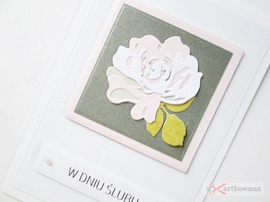Kartka W DNIU ŚLUBU z pastelową różą - Kartka na ślub z pastelową różą