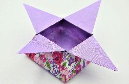 Pudełko gwiazda origami fioletowe kwiaty łąka