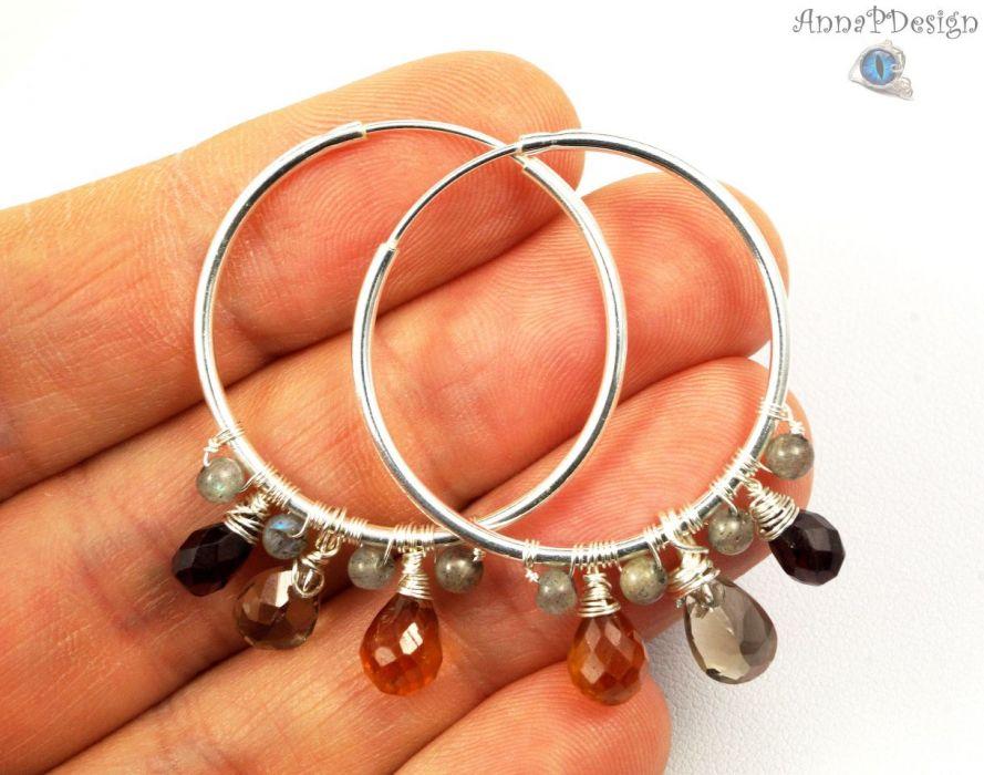 Srebrne kolczyki z kwarcem, cytrynem granatem - srebrne kolczyki wire wrapped