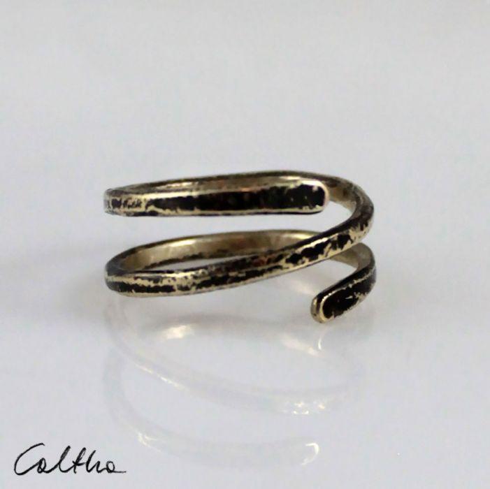 Zawijas - mosiężny pierścionek 210305-02 - Mosiężna obrączka
