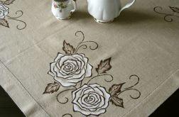 Lniany obrus ręcznie malowany - Róże