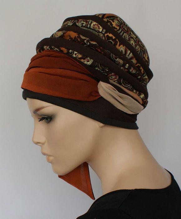 lekki turban TURECKI - szarfa wiązana z boku głowy