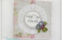 Delikatna kartka na Ślub z kwiatami 1