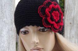 czapka degra-12 czarna  z czerwonym