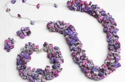 Liliowy zestaw z koralików